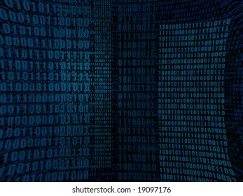 An abstract blue binary digits in several layers