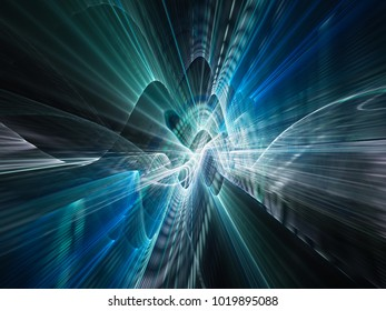 Abstract blue and black background texture. Dynamic 3d composition of curves ands grids. Detailed fractal graphics. Science and digital technology visualization.