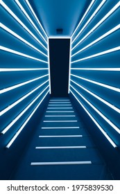 abstract blue corridor with fluorescent tube lamp lights