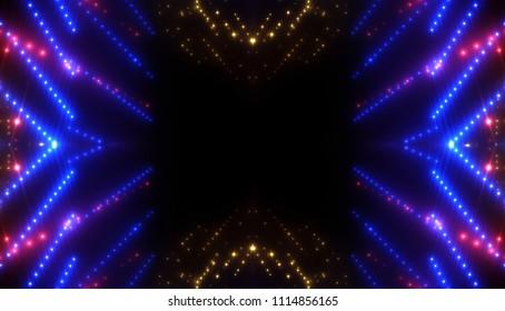 Abstract blue creative lights background. Illustration digital of kaleidoscope effect.