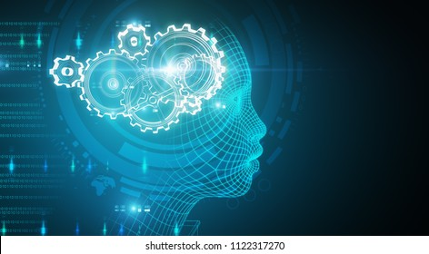 Abstract blue digital head profile with cogwheels. Artificial intelligence wallpaper. 3D Rendering