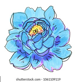 Abstract blue flower. Hand drawn illustration.