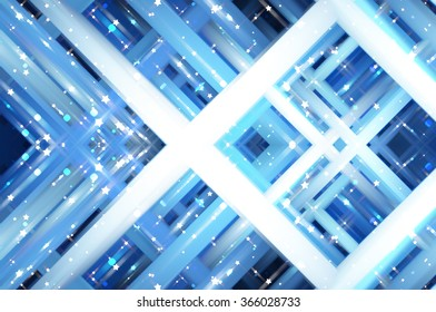 Abstract blue fractal background with various color lines and strips