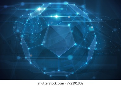 abstract blue futuristic background with 3d sphere