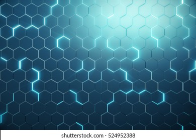 Abstract blue of futuristic surface hexagon pattern with light rays. 3D Rendering
