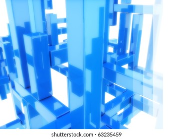 Abstract blue geometric background with blocks