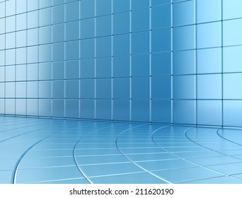 Abstract blue glossy cubes background