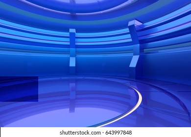 Abstract blue glossy interior with light. 3d rendering.