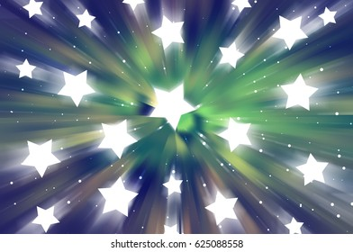 Abstract blue and green background. Explosion star. illustration digital.