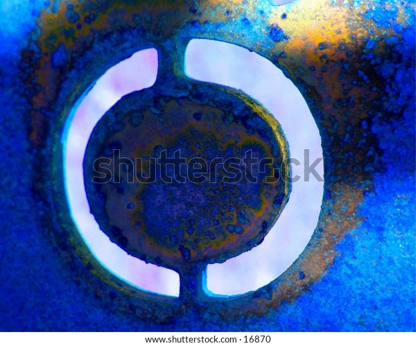 Abstract blue interpretation of circle.  Look closely.  Can you see through?