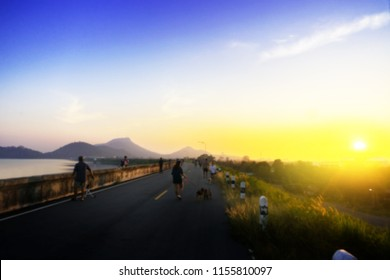 Abstract blue landscape for exercise time at colourful sunset background.