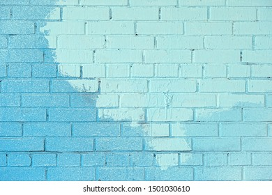 abstract blue painted brick wall background. Texture of brick wall covered with bright blue paint. grunge blue painted wall template. texture surface background for design