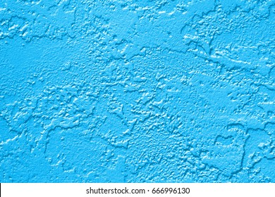 Abstract blue painted wall texture background or pattern