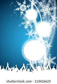 an abstract blue party design in winter style