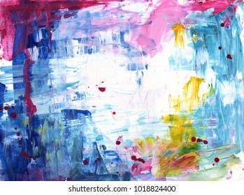Abstract blue, pink, yellow and white painting background