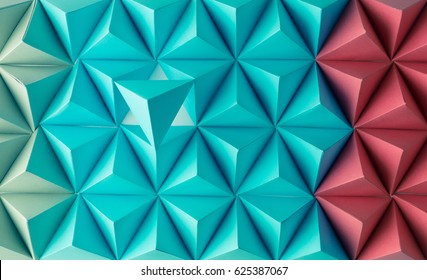 Abstract blue to red paper poly  made from  tetrahedron background. Usefull for business cards and web.