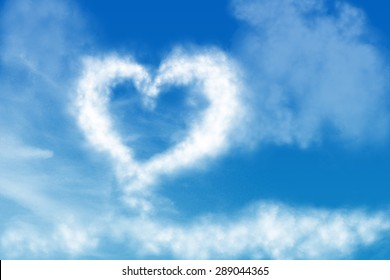 abstract blue sky clouds background. love in the sky.