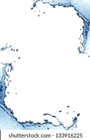 Abstract blue splashing water as picture frame on white background