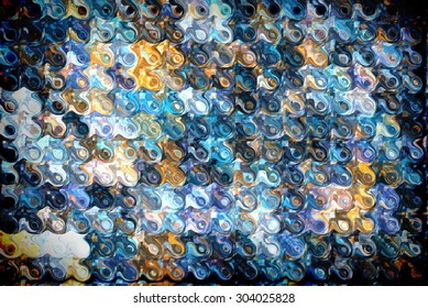 Abstract blue tiled background and rounded shapes.