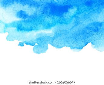 Abstract blue watercolor background. The color splashing on the paper. Hand drawn.