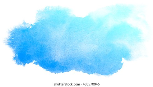 Abstract blue watercolor on white background.The color splashing on the paper.It is a hand drawn.