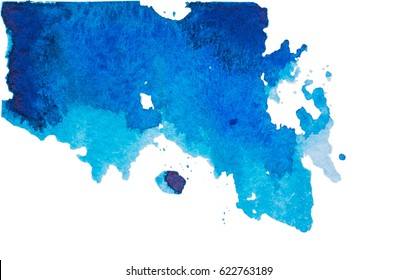 Abstract blue watercolor on white background.Watercolor blot isolated on white background. deep blue watercolor blot for your design.