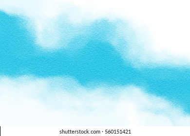 Abstract blue watercolor paint on white paper texture background. Digital painting.