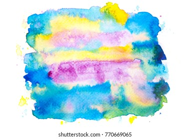 abstract blue watercolor stains  background.painted splash by drawing