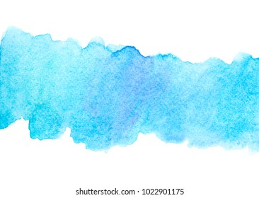 abstract blue watercolor stains on white background.wet on paper design