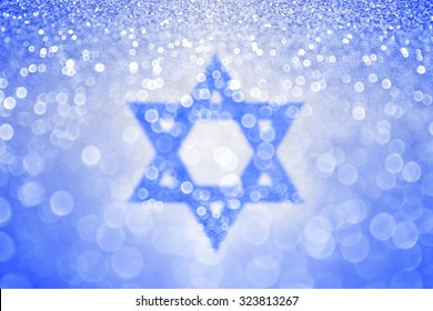 Abstract blue and white Jewish Hanukkah Star of David Israel sparkle glitter background