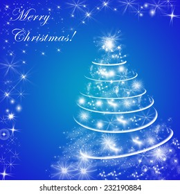 Abstract blue winter holiday background with Christmas tree.