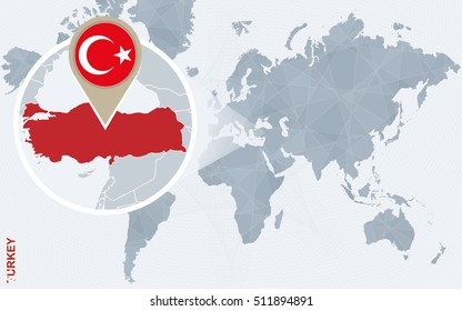 World map magnifying on turkey blue stock vector 407510839 abstract blue world map with magnified turkey turkey flag and map raster copy gumiabroncs Choice Image