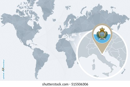 Abstract blue world map with magnified San Marino. San Marino flag and map. Raster copy.