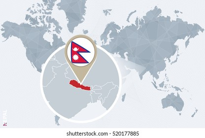 Nepal map images stock photos vectors shutterstock abstract blue world map with magnified nepal nepal flag and map raster copy gumiabroncs