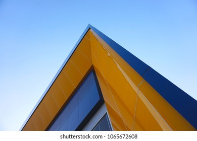 Abstract Blue and Yellow modern building corner.