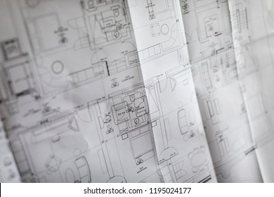 Abstract Blueprint with Shallow Depth of Field
