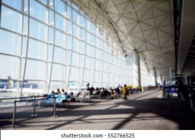 Abstract blur airport interior for background