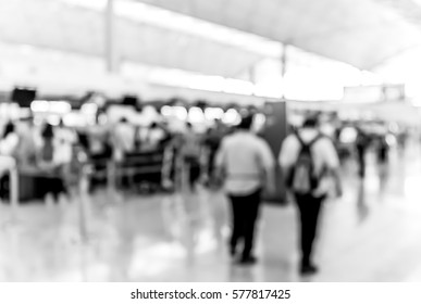 Abstract blur airport interior for background at Hong Kong with black and white color