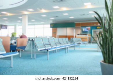Abstract blur airport passenger interior for background