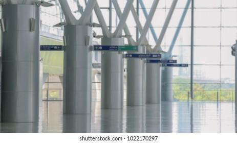 Abstract blur airport rail link train platform blur background, urban concept, Bangkok Thailand