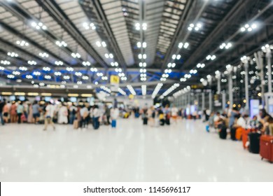 Abstract blur airport terminal and lounge interior for background