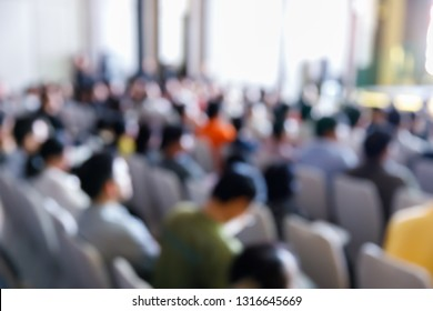 Abstract blur audience people in press conference event or corporate seminar meeting