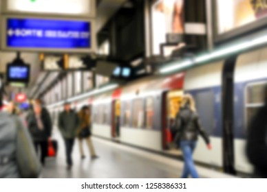 Abstract blur bacground, People travel with metro ,underground subway. Famous transport in capital city for rush hour, concept city's life and transport.