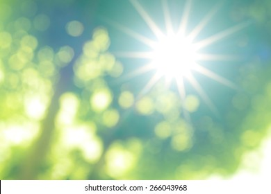 abstract blur background with bright sun light
