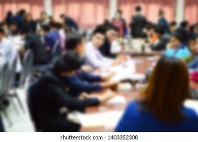 Abstract blur background Conference concept, Business man or student are seminar on the impact of political, In the hall or classroom of University.Exchange of knowledge develop to be successful.