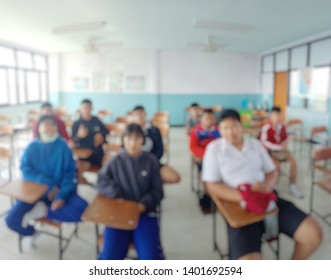Abstract blur background educations concept,Students are studying in the classroom,lecture room interior view. Problem base learning. Knowledge management. 21st-Century Skill.