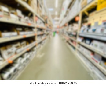 Abstract blur background of full market interior.