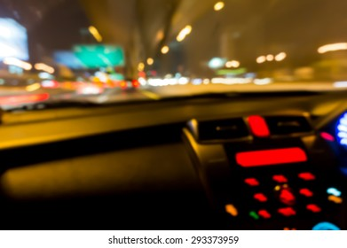 Abstract Blur Background : Night Street Traffic View From Inside A Car