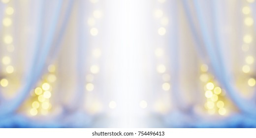 Abstract Blur Background Of White Curtain With Light Bulb Bokeh At Window In Bedroom Good