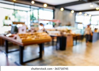 Abstract blur bakery shop with defocused light bokeh